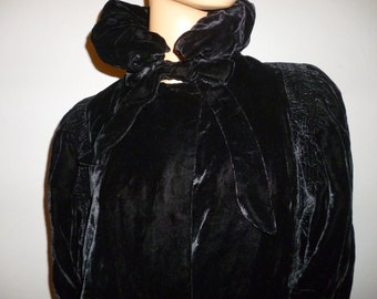 Antique 1900's - Victorian - Black - Panne' Velvet - Haute Couture - Ruched - High Collar - Maxi Coat  (incredible condition, very wearable)