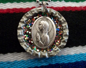 st. bernadette upcycled bottle cap necklace
