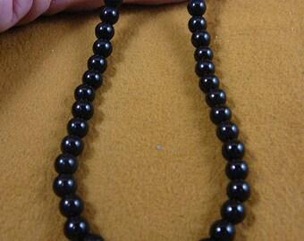 18 inch long Black onyx gemstone round bead beaded Necklace jewelry V305-11