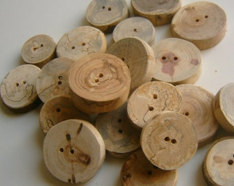 Handmade Wooden  Buttons 50 Assorted 1 to 1.25