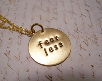 Fear Less Necklace. Fearless. Courage. Strength. Self Confidence.