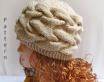 Knit Hat Pattern- Knit Cabled Hat PDF Pattern- Knitting Pattern n40