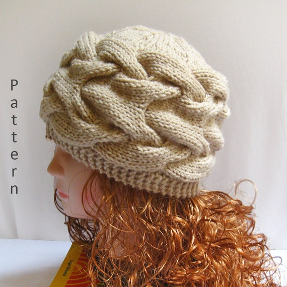 Knit Hat Pattern Knit Cabled Hat Pdf Pattern Knitting