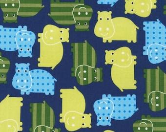 Robert Kaufman Fabric Urban Zoologie Hippos Royal 1 yard