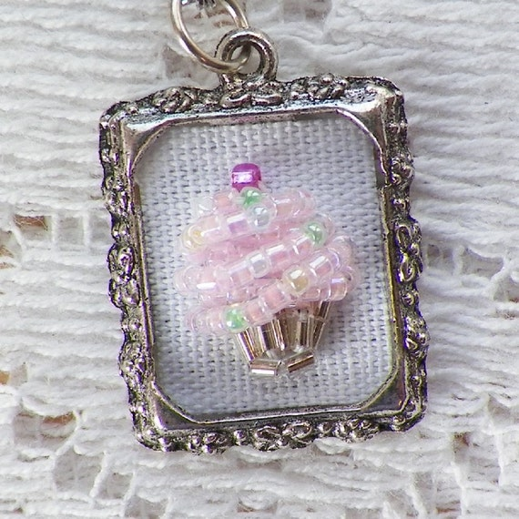 Sugary Sweet Hand Beaded Pink Frosted / Frosting Cupcake with Pastel Sprinkles Charm / Zipper Clip / Clip / Pendant Handmade, OOAK