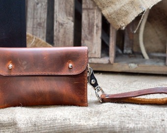 Aged Leather Wallet - iPhone Case Distressed Industrial Wristlet Pouch