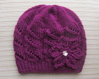 Instant Download #120 PDF Knitting Pattern Seamless Hat with Diagonal Lace Stripes in Size Adult