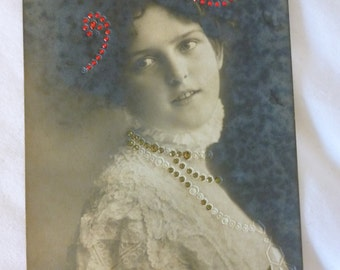 """Antique Postcard, Picture of Girl With Red and Gold """"Jewels"""""""