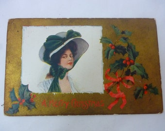 Early 1900s Postcard, A Merry Christmas