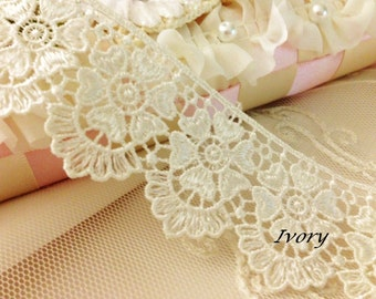 "Ivory Heart Flower Venise Lace Trim Fabulous 1.5""wide"