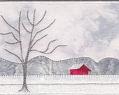 Red Barn in the Snow Fabric Postcard - zizzybob