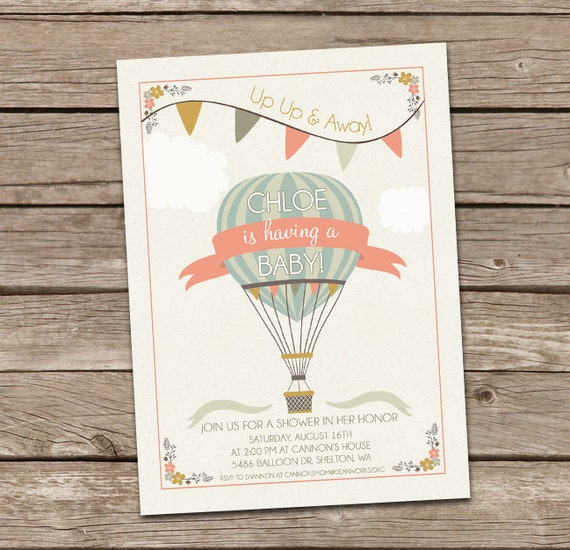 hot air balloon baby shower invitation girl