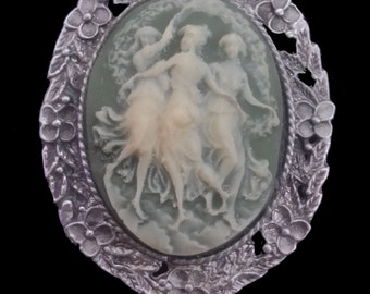 CAM-02N Three Muses on Green Cameo Necklace