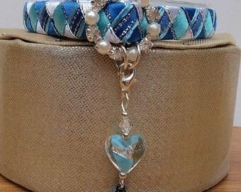 Blue Cat Collar Designer Breakaway Style with Diamante Buckle
