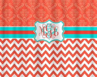 Personalized Shower Curtain -Damask and Chevron Coral and Turquoise - Available any color