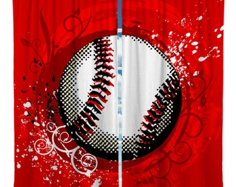 Custom Window Curtain, Baseball Theme Shown in Red, Blue, Green Options - Any Size - Any Colors - Any Pattern