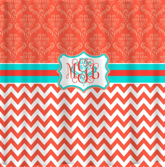 personalized shower curtain damask and chevron coral by