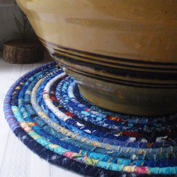 Bohemian Coiled Blue Mat, Chair Pad, Hot Pad, Trivet - LARGE ROUND