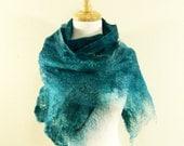 Felted Wool Scarf, Cobweb Felt Scarf, Handmade Felt Scarf, Hand Dyed Scarf, Teal Scarf, Women's Scarf, Felt Shrug, Wool Wrap, Winter Scarf