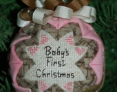 Pink Realtree Girl Camo Baby's 1st First Christmas folded star ball