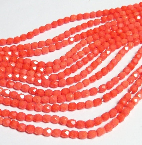 Czech Fire-Polished Glass Faceted Round - 4mm - Opaque Coral - 50 Beads