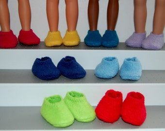 """Fleece Slippers-One Pair fit Corolle 13"""" Les Cheries or 14"""" Wellie Wishers Heart for Hearts Betsy McCall Mine to Love  tkct364 READY TO SHIP"""