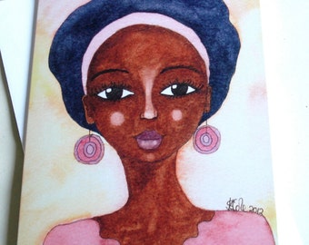 African American/Afro Caribbean Greeting Card - 'Quiet Joy'