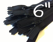 6 Inch black YKK zippers, Ten pcs, YKK color 580, dress, skirt, pouch, all purpose zippers