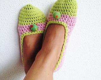Womens Slippers, Crochet Slippers, Wool Slippers
