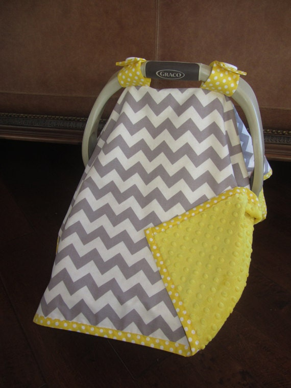 items similar to super cute baby car seat covers chevron in gray white with yellow minky on etsy. Black Bedroom Furniture Sets. Home Design Ideas