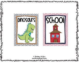 Classroom Library Book Labels and Round Stickers - Chevron