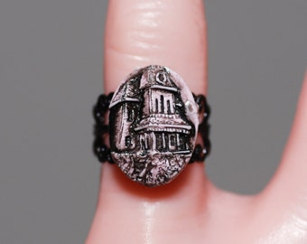 Creepy Cute Halloween Cameo Jewelry  -Pastel Goth  Psycho House Cameo Ring   - Haunted  House -Bates Mansion
