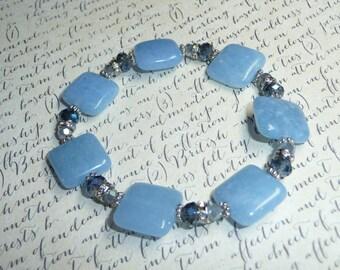Blue Quartz and Crystal Bracelet - B1656
