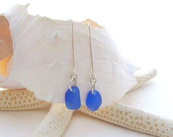 Long Leg Beach Glass Earrings - Cornflower Blue