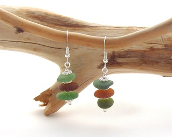 Stacked Beach Glass Earrings - Green/Amber/Green