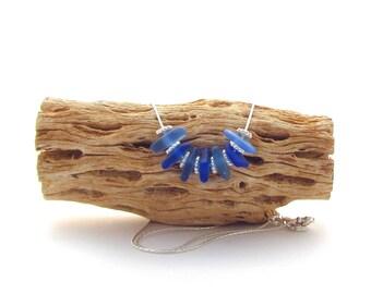Sterling Silver Necklace w/Beach Glass - Cornflower/Cobalt (7)