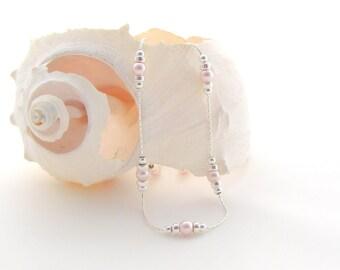 Sterling Silver Bead Chain w/Swarovski Rosaline Pearls