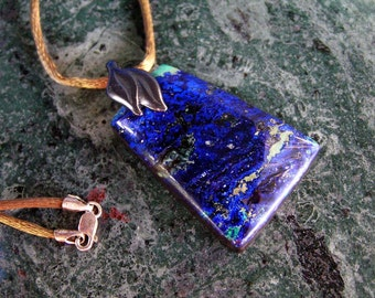 Azurite Trapezoid Intarsia Pendant Necklace with Gunmetal Pewter Twin-Leaf Bail and Bronze Satin Cord