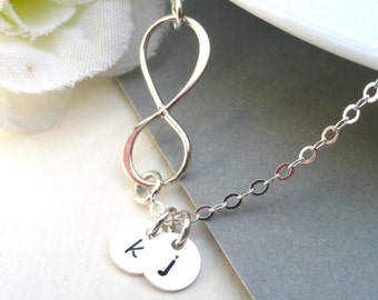Personalized Infinity Necklace  With Two Initials - Sterling Silver Initial Necklace Mother's Gift Sisters Friendship Necklace Best Friend