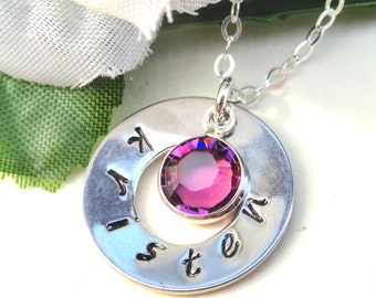 Hand Stamped Silver Washer Personalized Birthstone Necklace Customized Jewelry