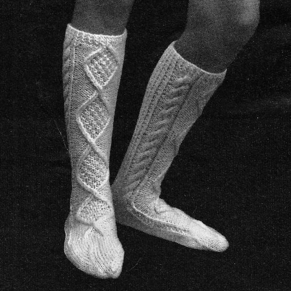 Aran Sock Knitting Pattern : INSTANT DOWNLOAD PDF Vintage Knitting Pattern Aran Socks
