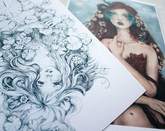 Set of 3 Fantasy Maidens Nymphs Limited Edition Prints SALE Pencil Drawing and Digital Paintings, Fae Women Goddess Woodland Water Nymph