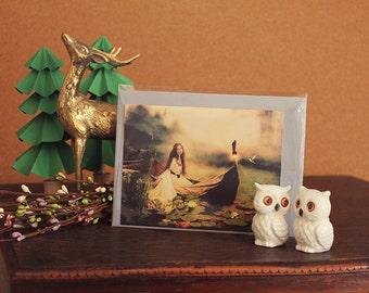 Lady of Shalott // Greeting Card // Print of Original Fantasy Illustration