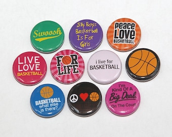 Girls Basketball Set of 10 Pinbacks Buttons Badges 1 inch - Flatbacks or Magnets