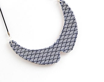 Collar Necklace Ceramic - big bold oversize handmade Peter Pan bib necklace - BLUE WAVES