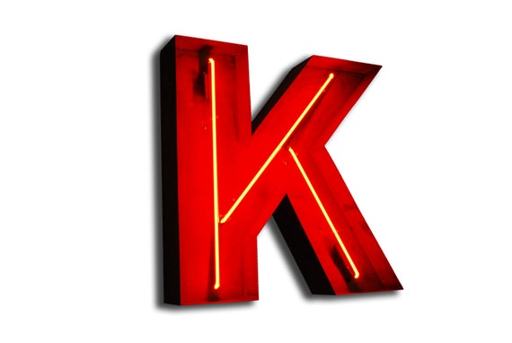sale vintage marquee lights neon letter k red