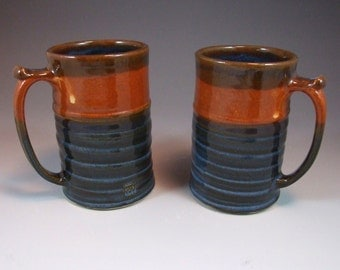 Wheel Thrown Mug in Croc Blue and Shino