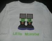 PERSONALIZED Frankenstein Halloween Shirt or bodysuit Monogrammed Frankenstein Feet