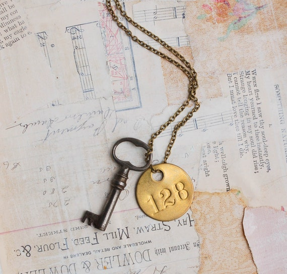 "Antique Skeleton KEY Necklace "" He gave her the Key to Room 128""  Vintage Key Vintage Brass Tag Steampunk"