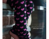 Black and Pink Hearts Baby Leg Warmers FREE SHIPPING